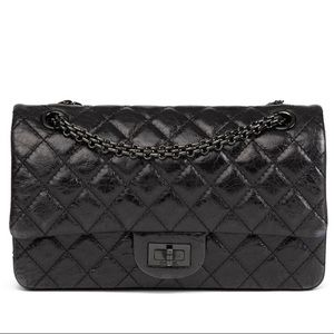 CHANEL SO BLACK 2.55 REISSUE 225 DOUBLE FLAP BAG